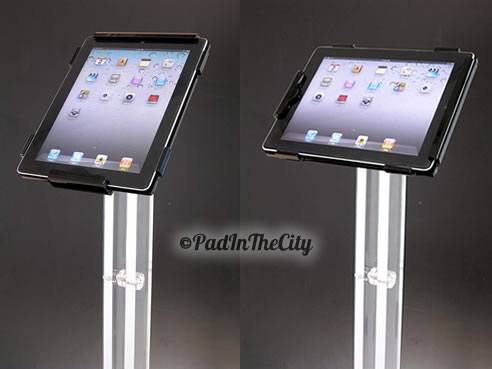 Adjustable floor stand for iPad on plexiglass